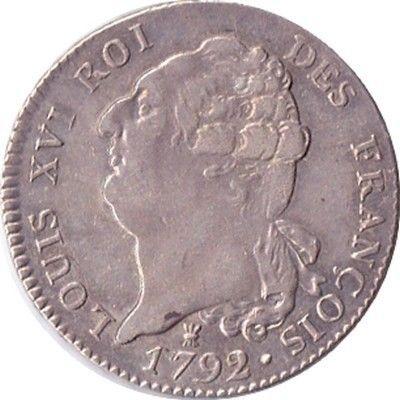 Louis XVI écu constitutionnel 1792 Limoges 300 Couzeix (87)