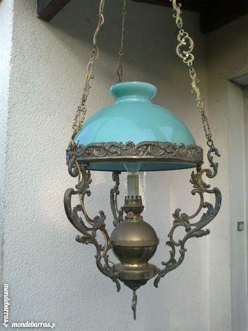 Luminaire 1900 bronze et opaline 490 Challans (85)