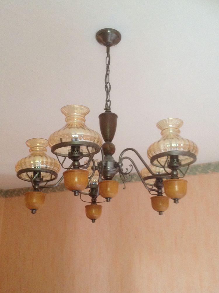 lustre 5 branches bois et métal 50 Alès (30)