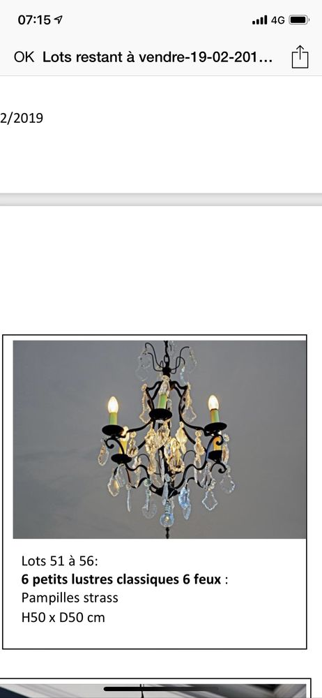 lustre  6 lampes 100 Clairefontaine-en-Yvelines (78)