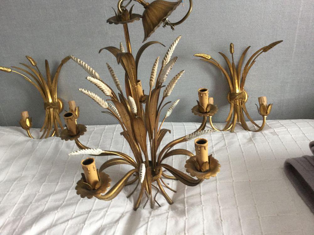Lustre en métal doré épi de blé  60 Ste Cecile (62)