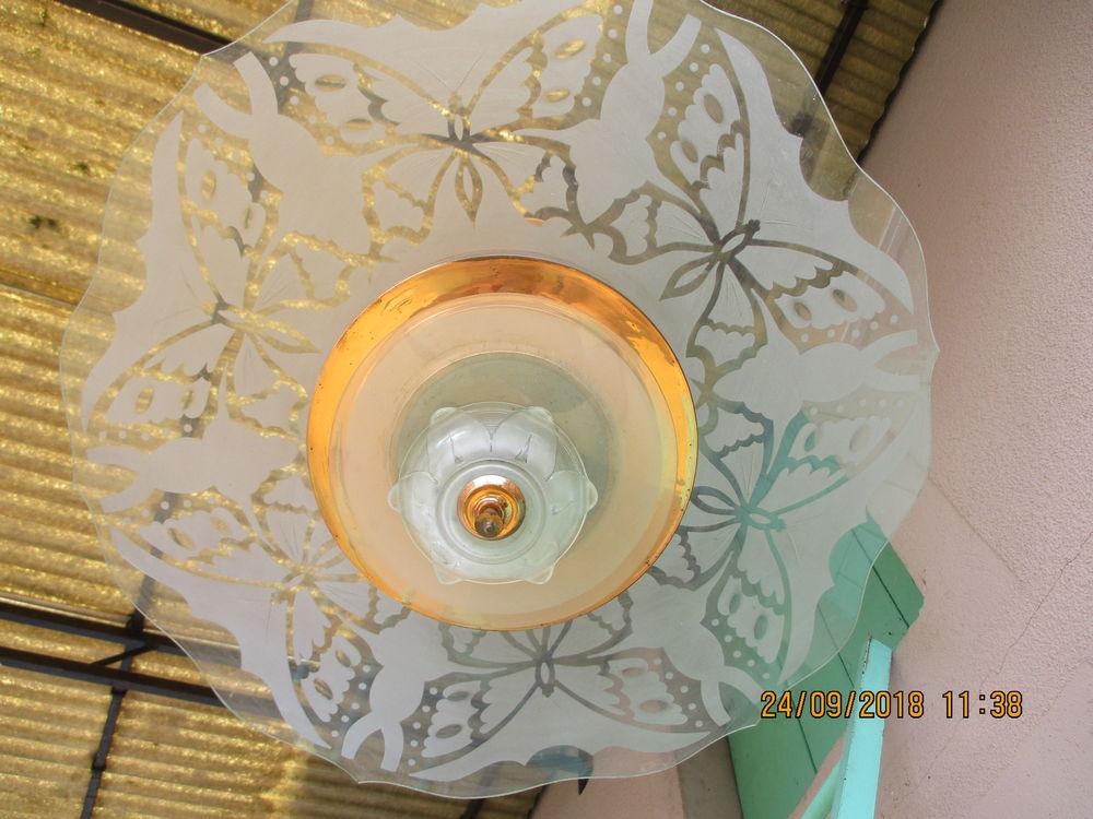 Lustre plafonnier laiton déco papillons 1950. 140 Le Vernois (39)