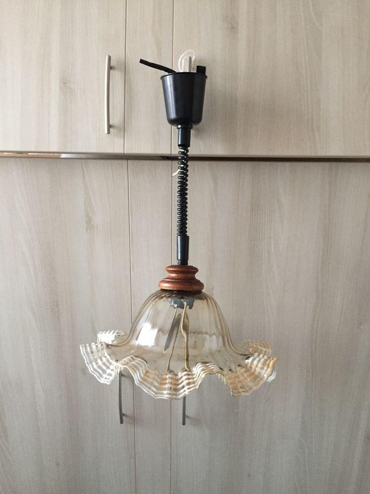 Lustre réglable en verre et bois  25 Rueil-Malmaison (92)