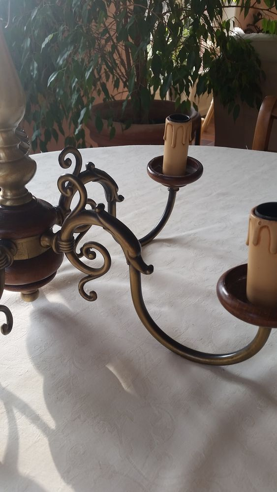 Lustre style hollandais couleur laiton et bois 5 branches. 10 Hem (59)