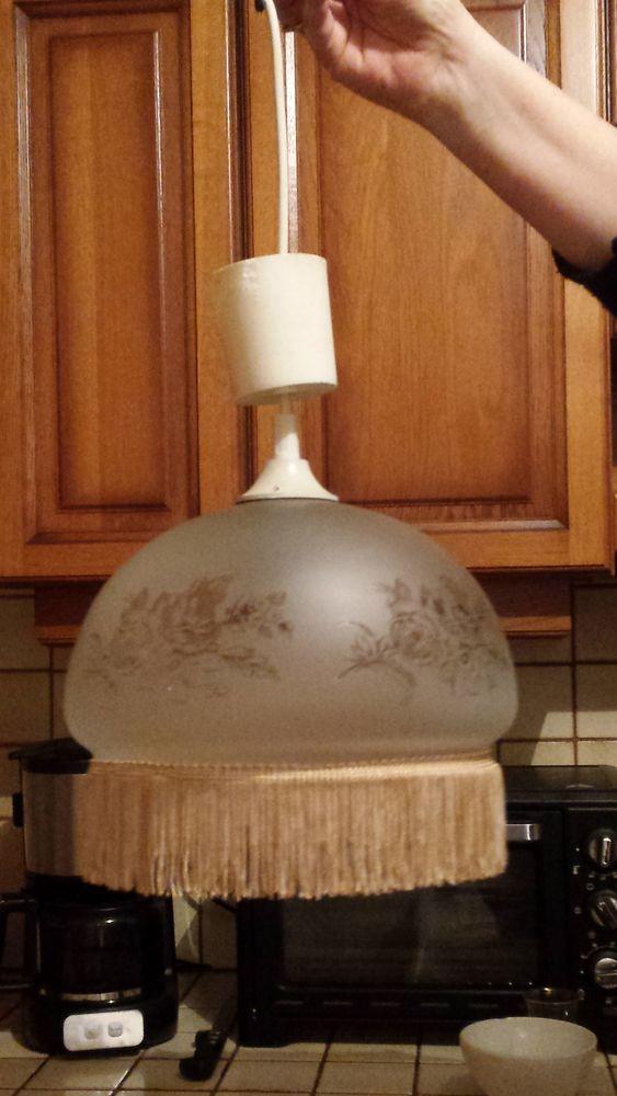 Lustre suspension verre et franges vintage 8 Hérouville-Saint-Clair (14)