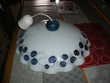 lustre en verre motifs frise feuillages bleutés Décoration
