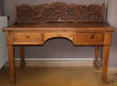 magnifique bureau ancien  balinais en teck massif + chaise 650 Arles (13)