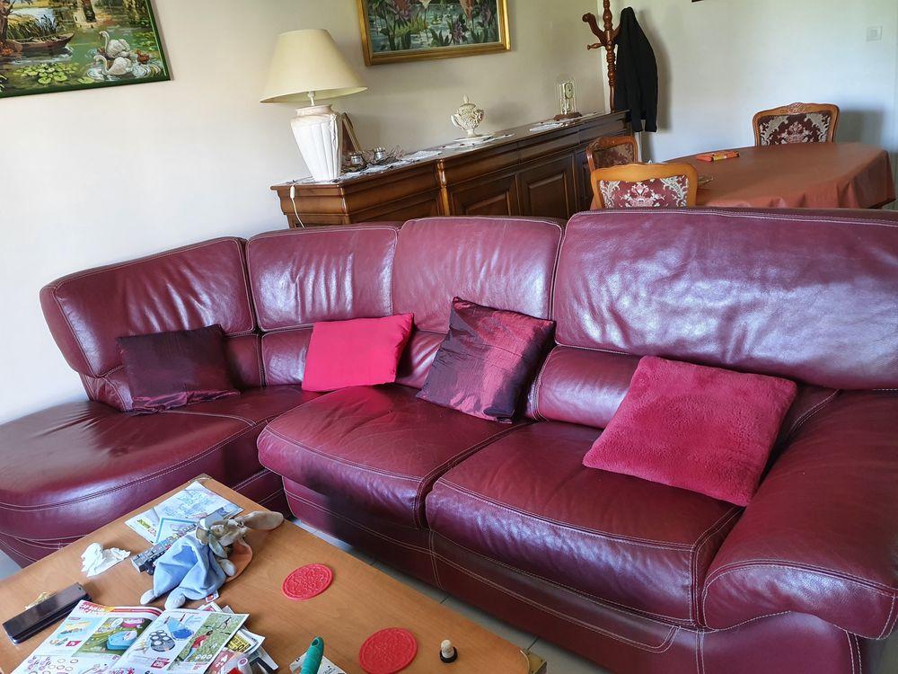 Magnifique canapé cuir angle bordeaux 600 Lanester (56)