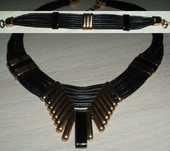 Magnifique Collier multi rangs en cuir noir  70 Antibes (06)