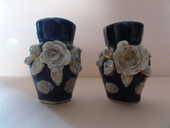2 magnifiques miniatures vases fleuris bleu de four 60 Nanterre (92)