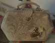 sac à main en dentelle beige vintage