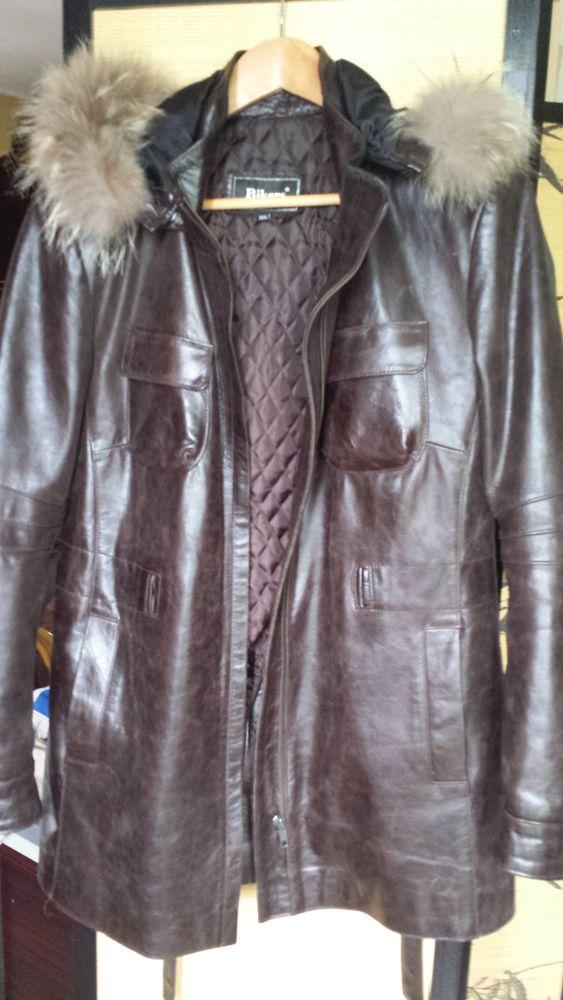 Manteau à capuche en cuir.BIKERS 0 Sarcelles (95)