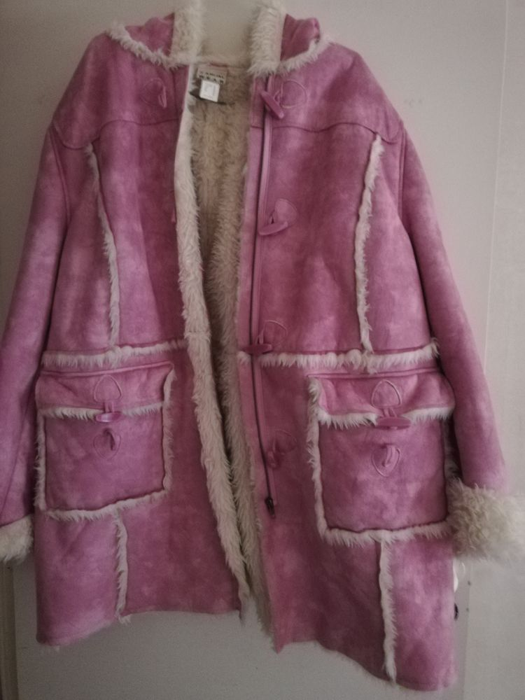 manteau à capuche rose en dain en fourrure Vêtements