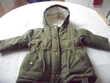 manteau chaud vert-gris 18 mois Kiabi TBE