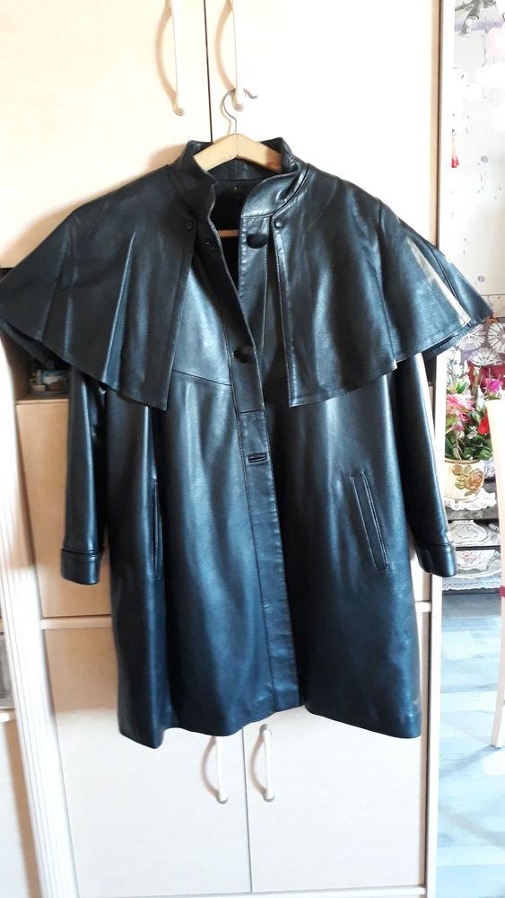 Manteau cuir 3/4 cuir véritable forme trapèze;doublure vison Vêtements