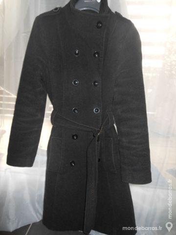 Manteau mi long chaud laine gris 40 / L 25 Tarascon (13)