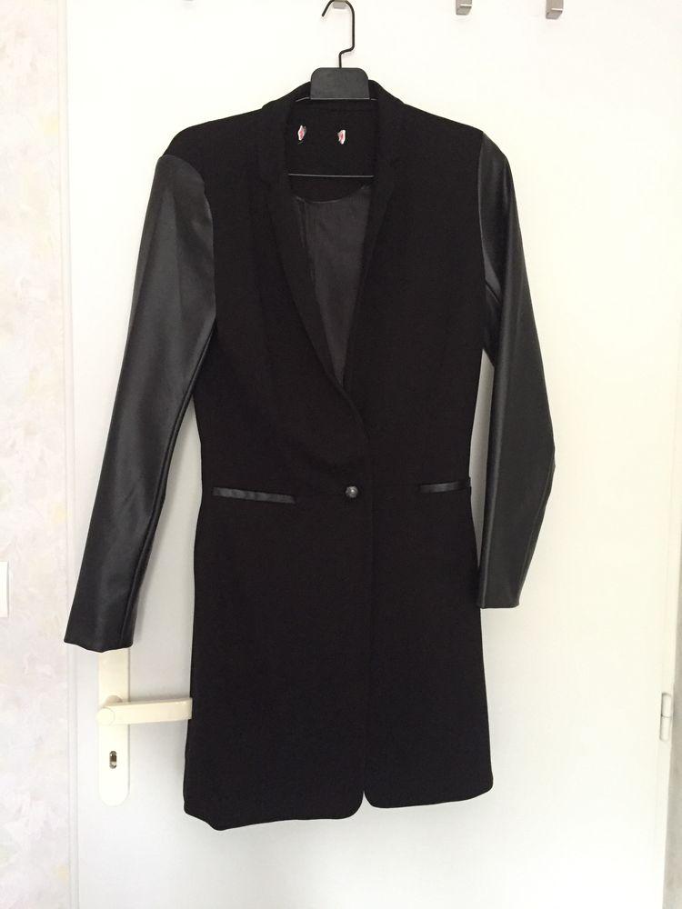 Manteau noir femme empiècement simili cuir - T.36 20 Bourg-en-Bresse (01)