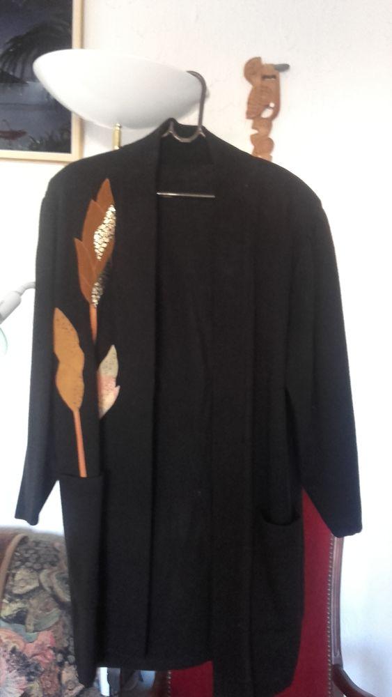 Manteau très chic 7/8ème noir Vêtements