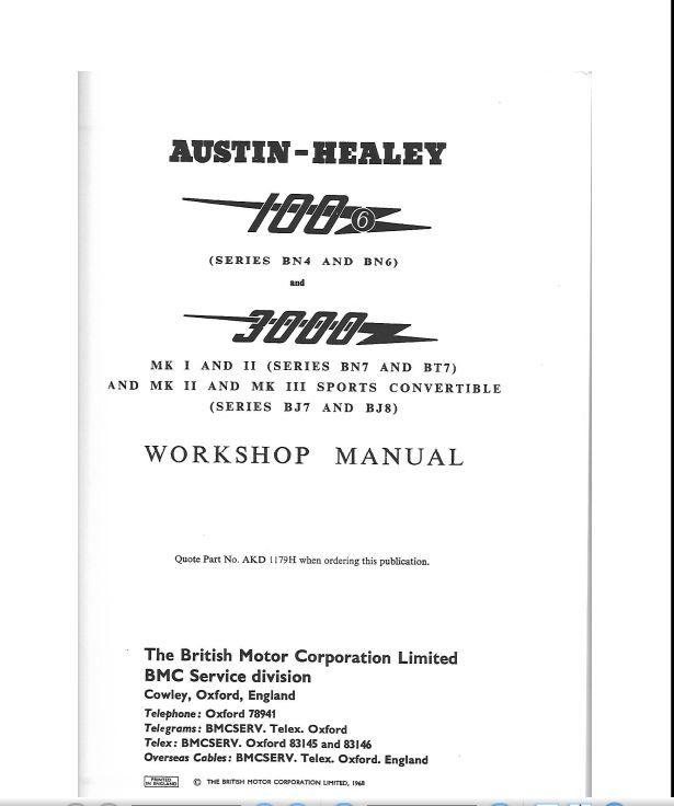 Manuel d'atelier Austin  Healey  100/ 6 et 3000 20 Melun (77)