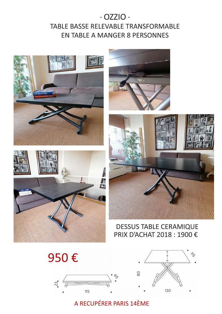 Marque OZZIO - table basse relevable transformable en table  900 Paris 14 (75)
