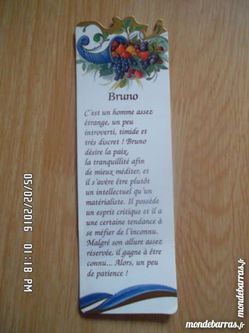 marque pages prénom BRUNO 1 Chambly (60)