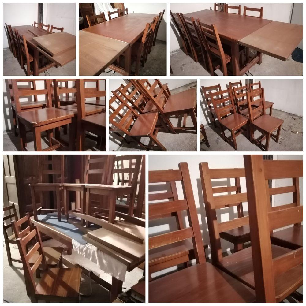 Pin massif chevillé bois, table 12 couverts, 6 chaises Meubles