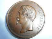 Médaille Napoléon III Tête nue 1854 en cuivre 48 Bordeaux (33)