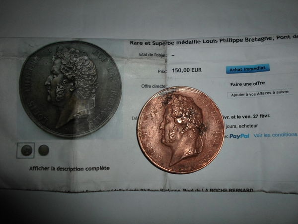 medaille rare LOUIS PHILIPPE BRETAGNE1839 130 Amélie-les-Bains-Palalda (66)