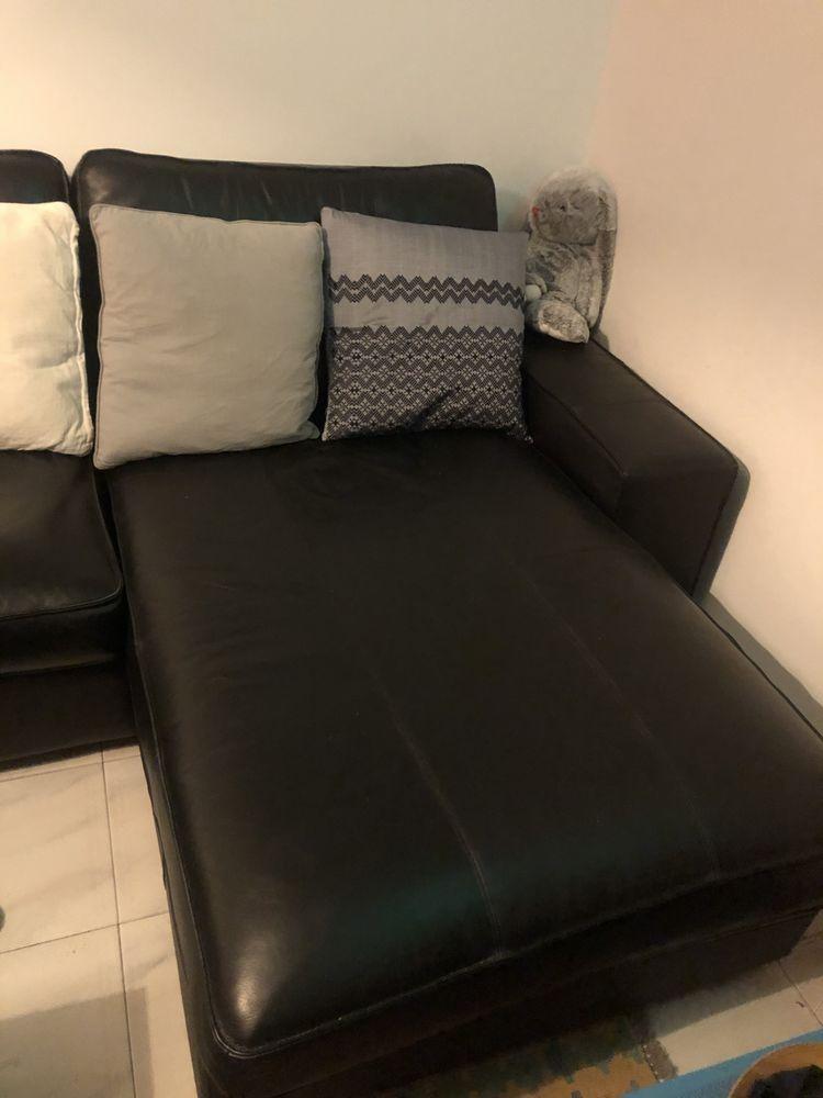 Méridienne cuir noir - Ikea Kiwik 290 Le Pecq (78)