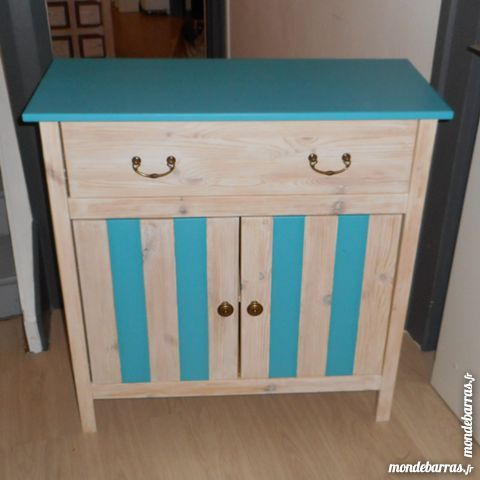 Meuble d'appoint blanc et turquoise 110 Tourcoing (59)