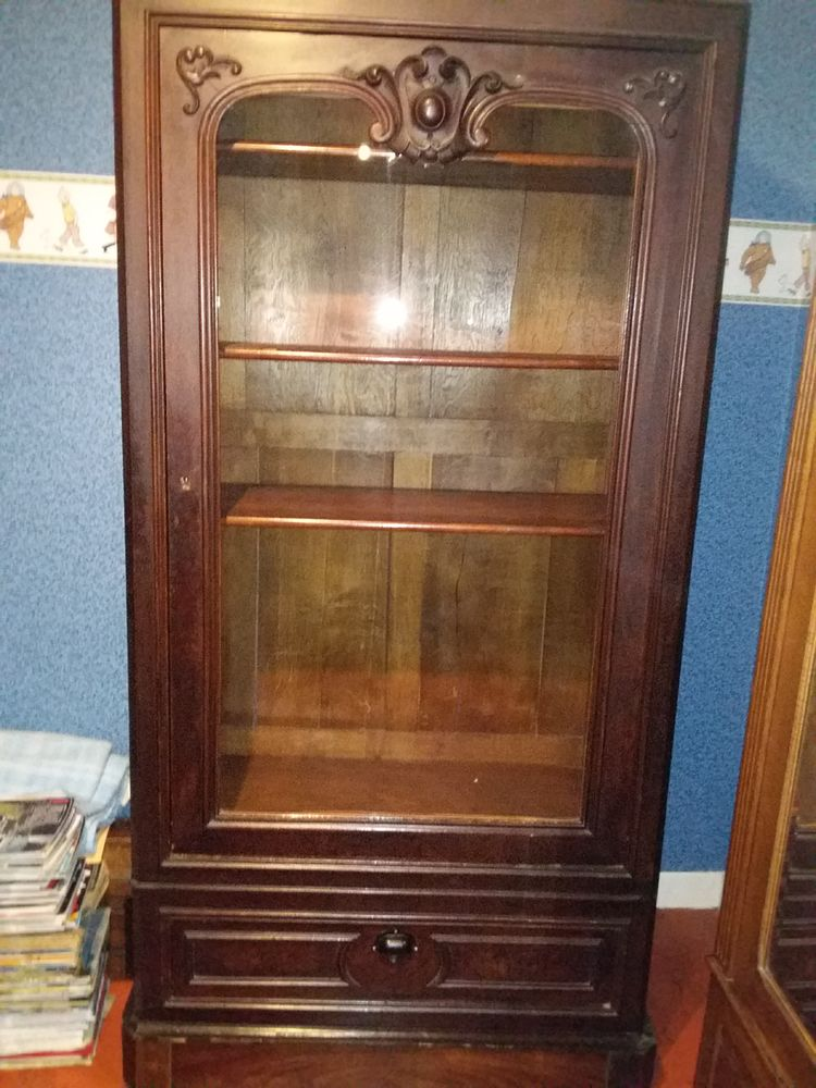 meuble bibliothèque en bois merisier vitre neuve 40 Saint-Ouen (80)