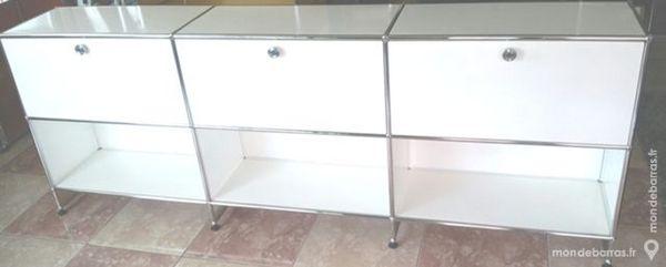 meuble blanc usm haller à 6 cases sur réhausse 1965 Chenoise (77)