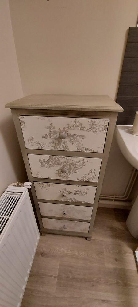 Meuble bois beige 5 tiroirs style Gustavien 130 Caen (14)