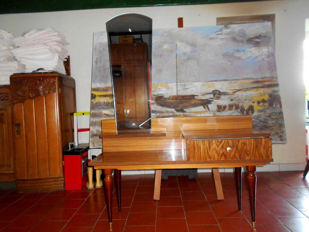 Meuble en bois coiffeuse + glace style année 1960 1970 150 Monflanquin (47)