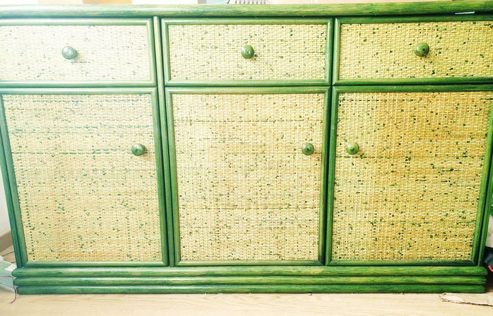 Meuble bois/rotin vert 50 Serbonnes (89)