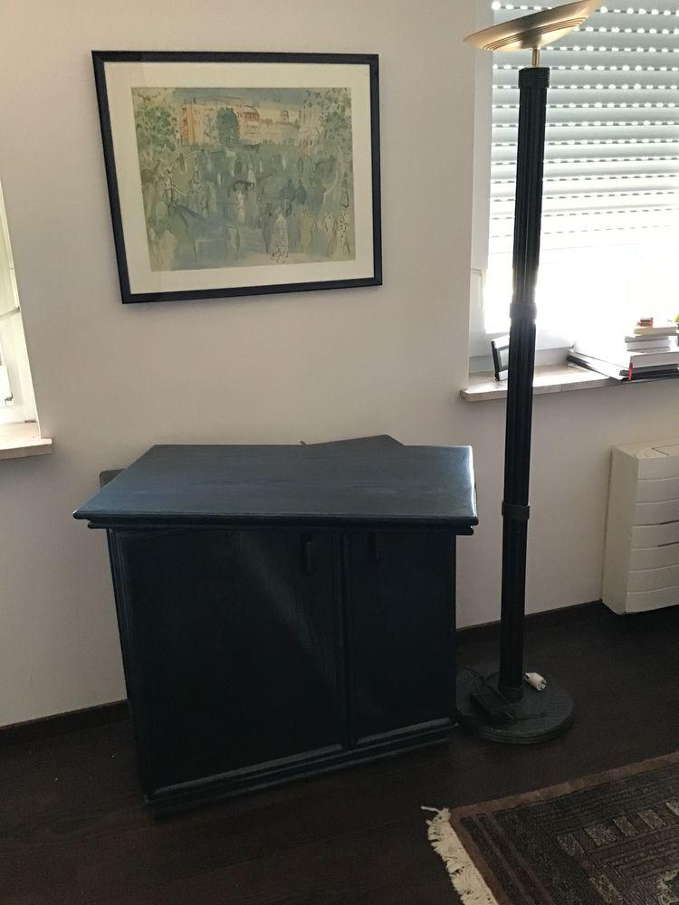 meuble Tv hêtre laqué bleu et lampe halogène assortie. 125 Benfeld (67)
