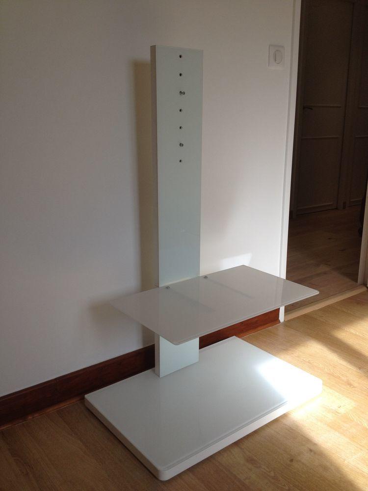 Meuble Support Tv Design En Verre Trempe Blanc