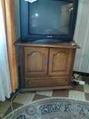 Meuble de télévision en chêne massif avec plateau tournant  100 Soye-en-Septaine (18)