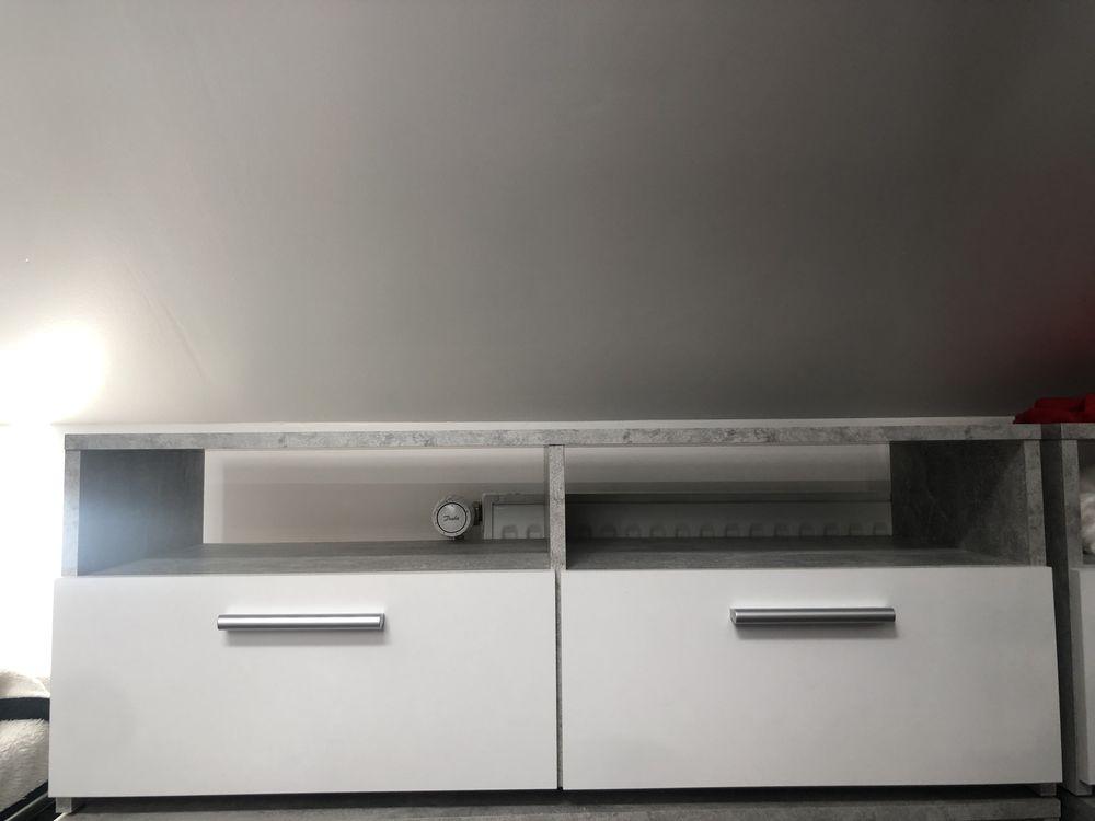 Meuble TV 2 tiroirs/2 niches RANA Effet béton/blanc 20 Villeparisis (77)