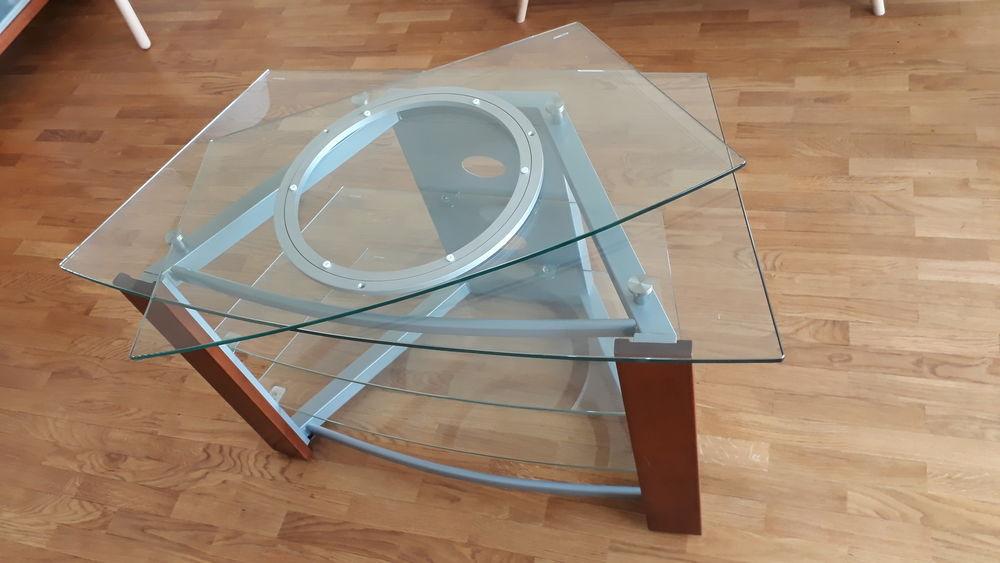 Meuble TV verre et bois 95 Levallois-Perret (92)