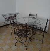 Lot meubles assortis salon en fer forgé et plateaux en verre 400 Aix-en-Provence (13)