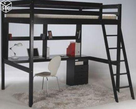 LIT MEZZANINE 90x190 +bureau+étagères pour chambre d\'ado.