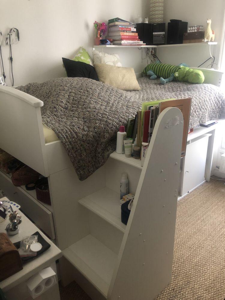 Lit mezzanine avec bureau, rangements et commode 450 Paris 3 (75)