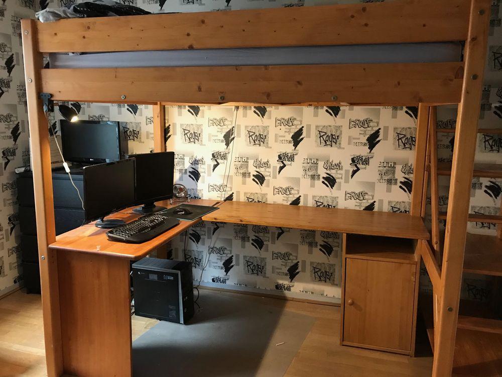 lit mezzanine avec bureau en pin massif Meubles