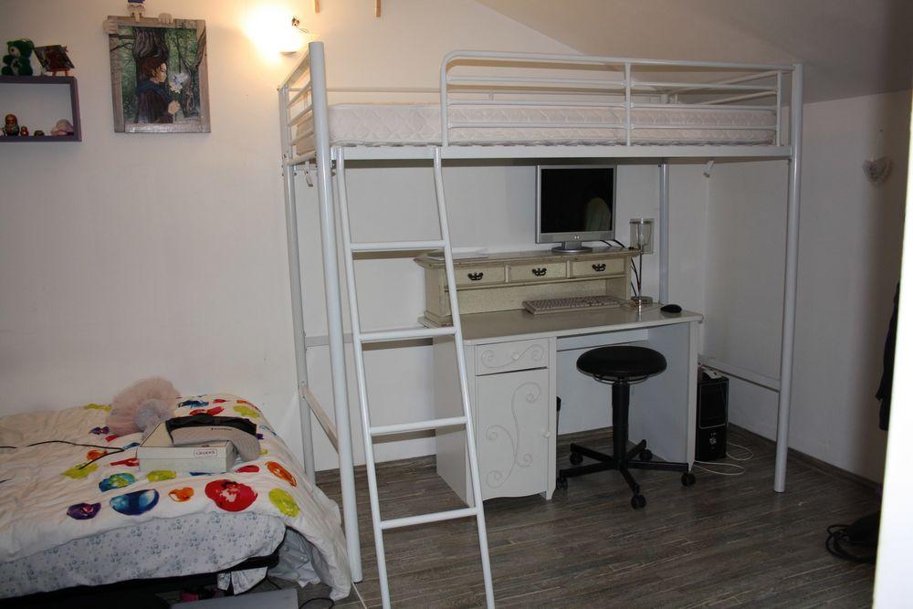 Lit-mezzanine blanc, en alu, avec matelas 90x190 cm. 80 Le Bar-sur-Loup (06)