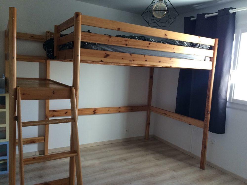 Lit mezzanine en bois 140cm ac palier (IKEA) 270 Marseille 10 (13)