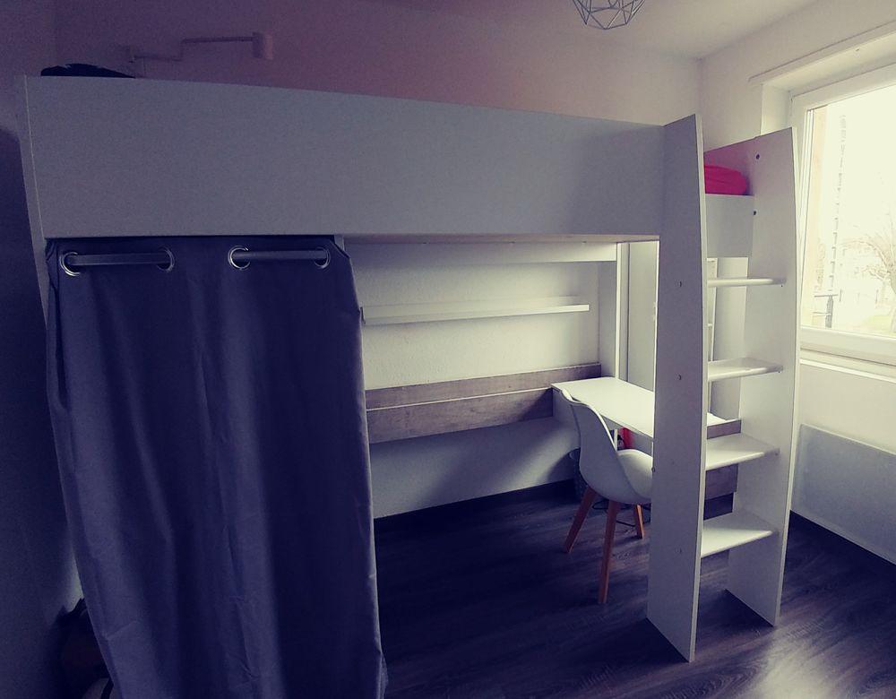 Lit mezzanine combiné bureau + armoire + penderie, BLANC 200 Sélestat (67)