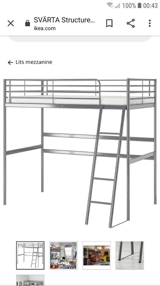 Lit mezzanine IKEA SVÄRTA 1 place bon état  60 Bouguenais (44)