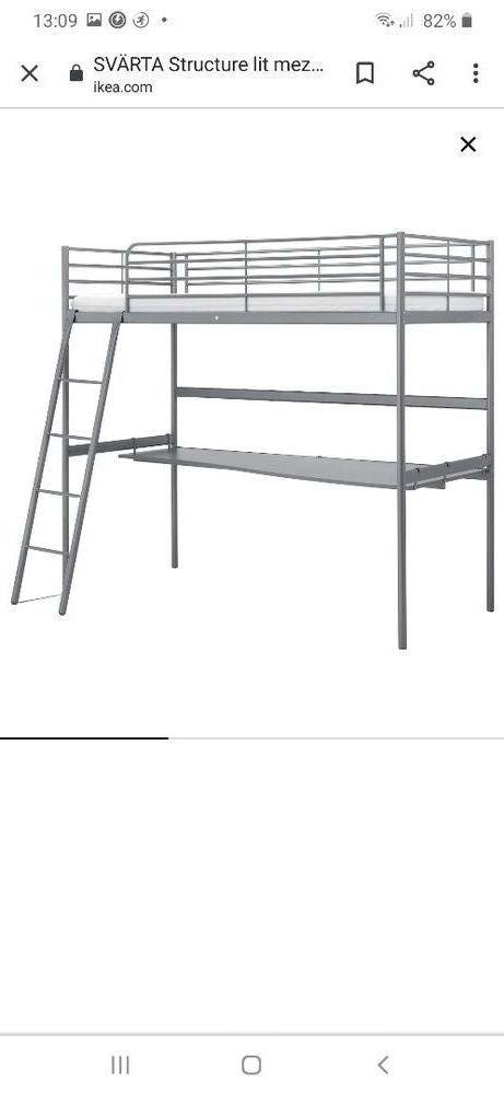 Lit mezzanine IKEA SVÄRTA avec bureau 1 place bon état  100 Bouguenais (44)