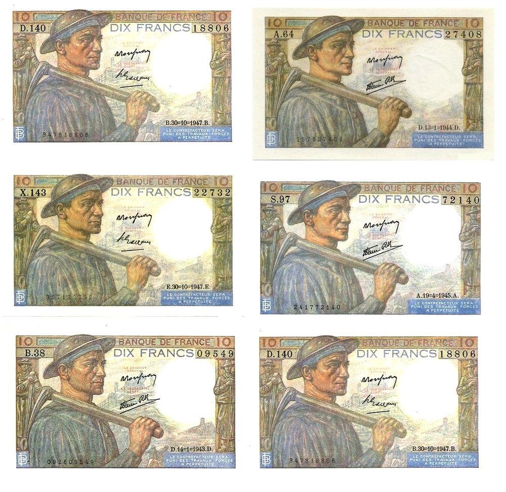 f 8 10 f mineur lot de 5 billets  58 Raismes (59)